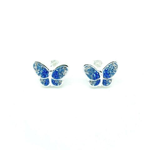 Genuine 925 Sterling Silver Swarovski Crystal Butterfly Studs in Pink or Blue